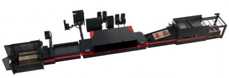 The new EFI Nozomi C18000 single-pass LED inkjet corrugated board press.