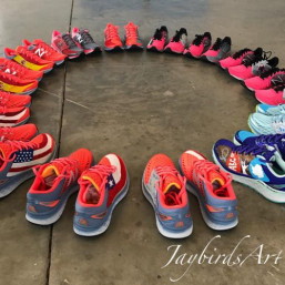 Shoes designed by pediatric cancer patients.
