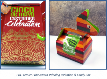 PIA Premier Print award-winning invitation and candy box.