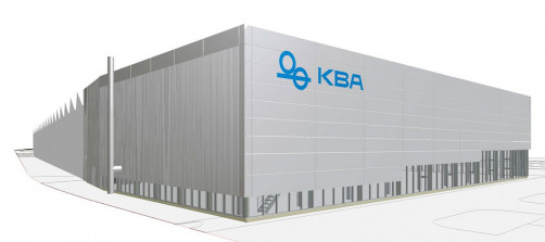 Architect's sketch of the new demo centre for digital and flexographic presses at KBA's headquarters in Würzburg.