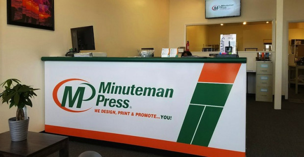 The lobby of the new Minuteman Press in Upper Marlboro, Md.