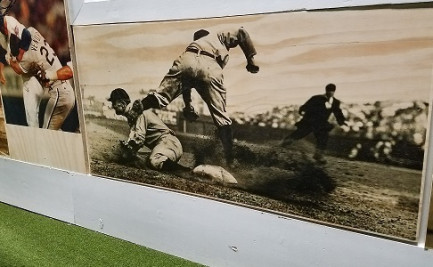 """Pictures here, NPW printed signage, decor and floor graphics for """"The Hood,"""" and Atlanta-based batting cage business, including vintage baseball photographs printed directly to plywood."""