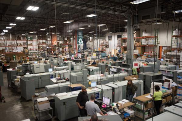 The Hartland, Wis., headquarters facility houses nine high-speed Canon Océ VarioPrint 6250 digital black-and-white printers.