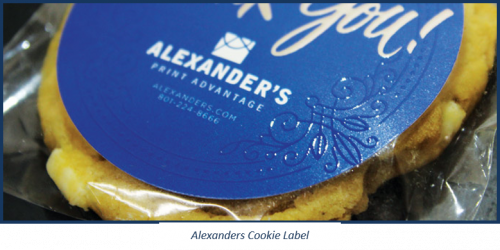 A cookie label produced by Alexanders.