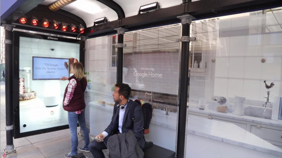 Google Home smart home bus shelter, JCDecaux North America, January 2017 (Click image for video)