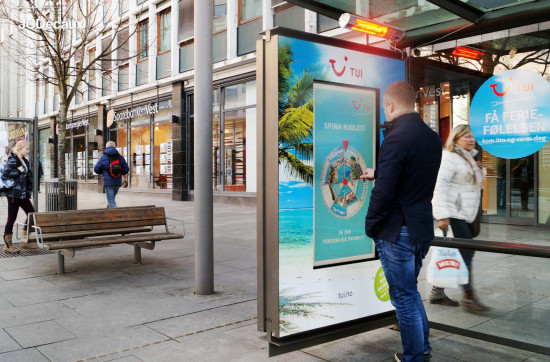 TUI interactive screen holiday roulette and heated bus shelter, JCDecaux Netherlands, January 2017 (Click image for video)