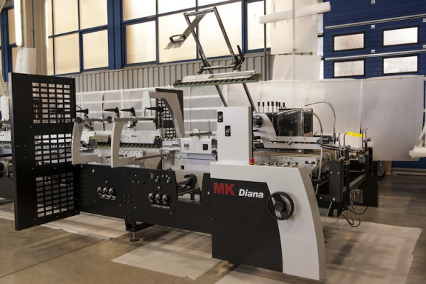 The Diana Easy 115 folder gluer features four- and six-corner box capacity. The machine was designed by MK Masterwork in Germany and built in Nove Mesto in Slovakia.