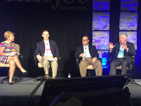 InfoTrends' Barb Pellow led a user panel with printers.