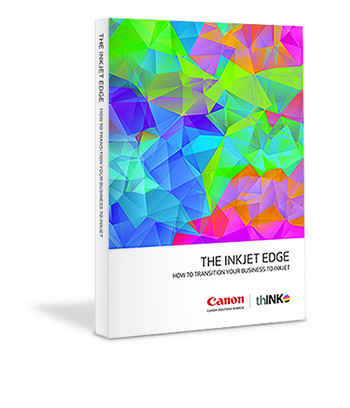 """Jointly published by Canon Solutions America and thINK, """"The Inkjet Edge – How to Transition Your Business to Inkjet"""" is a collection of inkjet related topics including: Production inkjet opportunity, inkjet justification process, data-driven marketing messages, paper and the impact of ink, finishing, workflow integration, organizational effects of inkjet, application opportunities and much more."""