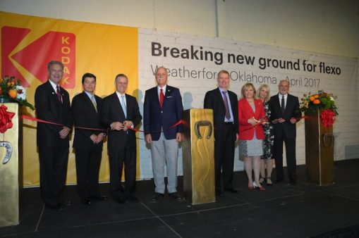 Attending the Ribbon Cutting ceremony in Weatherford, Oklahoma, from left to right, are Mayor Mike Brown; Boon Tien Pang, director of operations for flexographic packaging division; Kodak CEO Jeff Clarke; Speaker Pro Tempore of OK House of Reps Harold Wright Jr.; President of Flexographic Packaging Solutions, Chris Payne; Governor of Oklahoma, Mary Fallin; Oklahoma Secretary of Commerce and Tourism, Deby Snodgrass; Kodak Weatherford Plant Manager, Gene Meier