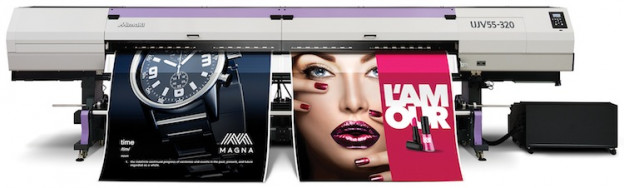The Mimaki UJV55-320 3.2m-wide LED-UV printer.