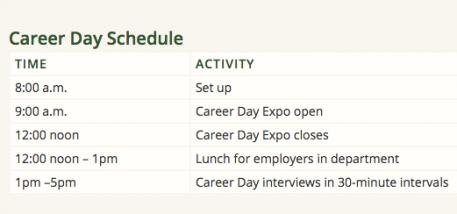 2017 Career Day Schedule