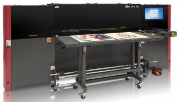 The EFI Pro 16h wide-format hybrid roll/flatbed LED printer.