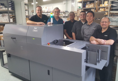 Pictured, from left to right: Bob Massa, Duplo USA; Greg Wallace, HPGprint; Mike Jacobs, Superior Offset; Jake Gandara, Tom Nagasaki, and Anthony Gandara, Duplo USA.