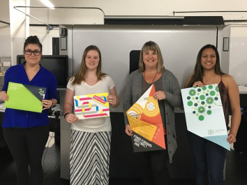 From the left: Teresa Mendoza-Embrey, first place, Spokane Falls Community College; Abby Damerow, third place, Eastern Washington University; Jill Poland, honorable mention, SFCC; and Kaitlyn Santos, second place (tie), Eastern Washington University.