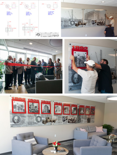 This unique history wall display project became the focal point of the JP Cullen lobby and tells that company's history from 1892 to present.