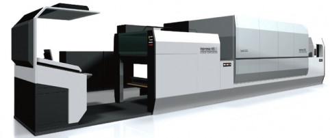 The Komori Impremia NS40 sheetfed inkjet press equipped with Landa Nanographic technology.