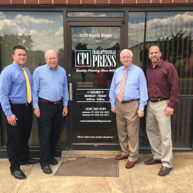 From the left, Adam Monk, president; Tom Trevillian, chairman of the board; Rodney Thomas, leadership team advisor; and Rod S. Thomas, account executive