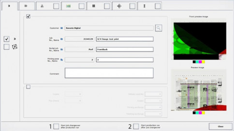 Two clicks are all it takes to activate autonomous printing at the ErgoTronic console: Job change starts at the end of production; and production starts at the end of a job change.