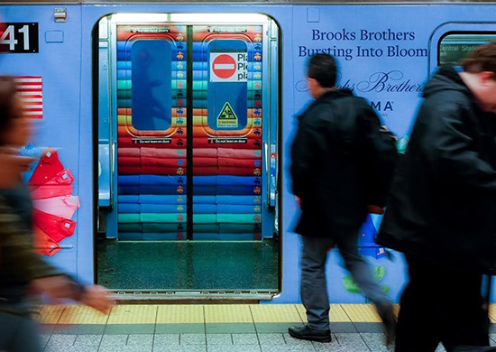 Brooks Brothers leverages key OOH properties by launching another New York City campaign on OUTFRONT Media's assets. (PRNewsfoto/OUTFRONT Media Inc.)