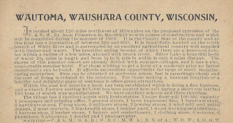 Pictured here is the back of the Waushara Argus business card. (Click on image to enlarge)