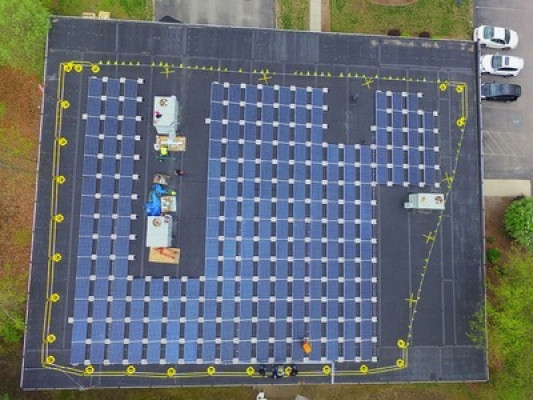 An aerial view of the installation of Starburst's solar energy system.