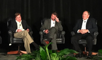 From left, Greg Palm of Mark Andy, Geert Geens of Xeikon and James Gargus of HP take part in a keynote panel at the 2016 Digital Packaging Summit.