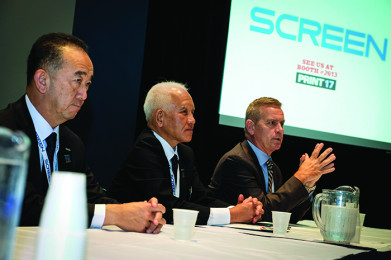 Left to Right: Tsuneo Baba, president and corporate officer, Screen Graphics Solutions Co Ltd.; Yoji Otsuka, president, Screen Americas; and Ken Ingram,VP Sales, Screen Americas.
