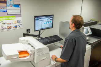 The shop employs several Fiery software workflow tools from EFI, including the Fiery JobMaster makeready tool, Fiery Impose for impositioning and creating layouts for variable data jobs, and Fiery color imaging to ensure color quality.