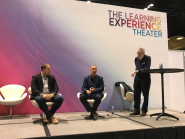 Printer Panel Talks Substrates In A Mixed Process World: (From left) Mark DeBoer, Darwill, Dan Definio, Tukaiz, answer questions posed by moderator Dr. Harvey Levenson as well as the audience.