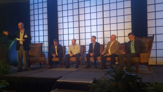 From left, Marco Boer of I.T. Strategies moderates a panel on hybrid printing featuring Steve Schulte of Mark Andy, Keith Nagle of Nilpeter, Will Mansfield of Kodak, Andre Blais of Gallus and Mike Barry of Fujifilm.
