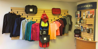 A display of the print shop's promotional products at the Minuteman shop in Beaverton, Ore.