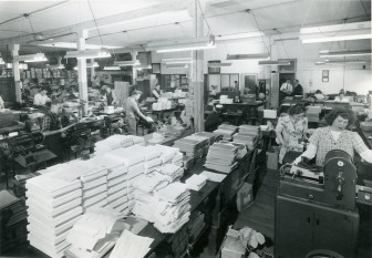 A view of the pressroom from the inside of the company in the early days when it was located on 710 South Clark St. in Chicago.