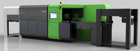The Highcon Beam digital cutting and creasing machine.