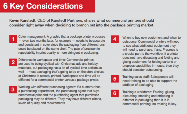Kevin Karstedt, CEO of Karstedt Partners, shares what commercial printers should consider right away when deciding to branch out into the package printing market.