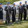 INX International Ink Co. officials participated in an expansion groundbreaking ceremony at the R&D facility in West Chicago, IL. From left to right: Takayuki Shirafuji, VP, Assistant Treasurer; Susan Supergan, Senior VP, Human Resources; Bryce Kristo, Senior VP, Chief Financial Officer; Kotaro Morita, Chairman; Rick Clendenning, President & CEO; Rick Westrom, Senior VP, Strategic Sourcing and R&D; John Hrdlick, Senior VP and Chief Operating Officer and Matthew Mason, VP, General Council.