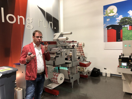 Xeikon Café N.A.: Filip Weymans leads a tour of the Xeikon Innovation Center, which features finishing equipment, as well as toner and inkjet presses.