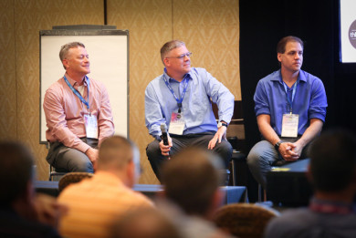 thINK 2017: From left, John DiNozzi, Access Direct; Jared Carr, Merrill; and Brad Sharp, Bookmasters, appear on a user panel.