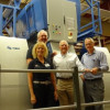 Left to right: Ellen Manning, VP of marketing and sales, Eagle; and Mike King, president, Eagle, are joined by Joe Fenkel, chairman and CEO, McLean Packaging; and Rob Watts, pressroom manager, in front of the Eagle system installed on the company's new KBA 106.
