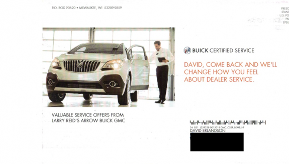 This direct mail campaign is from Larry Reid's Arrow Buick GMC.
