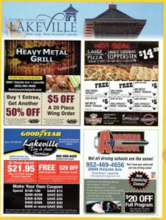 This direct mail campaign is from Lakeville Quarterly, which also looks like a magazine, but is composed entirely of ads and coupons for local businesses.