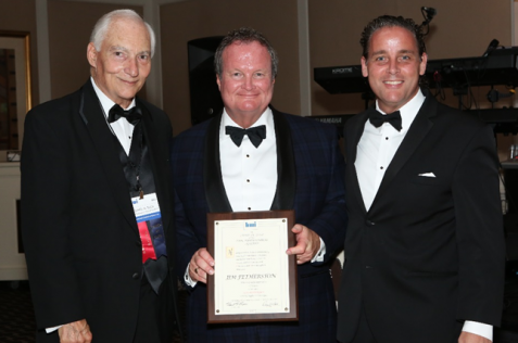 Pictured here, from the left, are Dan Bach, executive VP of BMI; Jim Fetherston, Worzalla Publishing and president of BMI; and Kent Larson, Bridgeport National Bindery and past president of BMI.