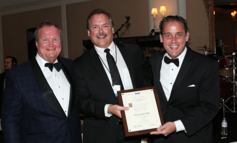 Pictured here, from the left, are Jim Fetherston, Worzalla Publishing and president of BMI; Ted Green, Partner GP2 Technologies; and Kent Larson, Bridgeport National Bindery and past president of BMI.
