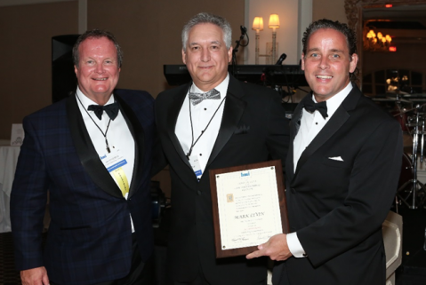 Pictured here, from the left, are Jim Fetherston, Worzalla Publishing and president of BMI; Mark Levin, Americas director of executive accounts, HP Inc.; and Kent Larson, Bridgeport National Bindery and past president of BMI.
