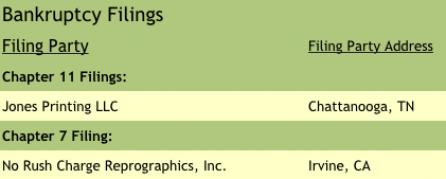 Bankruptcy Filings: Target Report: Flexible Packaging is Hot