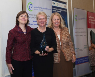 From left to right, Karen Copenhaver, CWE board of directors, chair; Judith Maloy, CEO, Polaris Direct; and Susan Rittscher, CWE president and CEO.