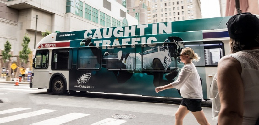 An ultra super-king bus wrap featured on a Septa bus to promote the Eagles season kick-off.