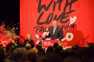 Visit Philadelphia New Years Breakfast: A 10' wide x 8' high wide-format graphic boldly stood out behind Philadelphia Mayor Jim Kenney while he was addressing attendees.