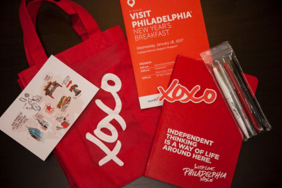 Visit Philadelphia New Years Breakfast: Guests received a gift bag that contained pens, an Illustrated postcard and a hard-bound journal.