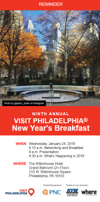 The digital reminder that was sent to prospective attendees of the Ninth Annual Visit Philadelphia New Year's Breakfast. (click on image to enlarge)